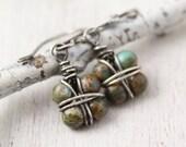 Wire Wrapped Jasper Earrings Oxidized Silver