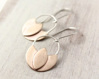 Bronze and Silver Lotus Earrings