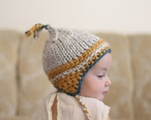 Baby Hat Hand Knit Ear Flap Beanie with Tassel
