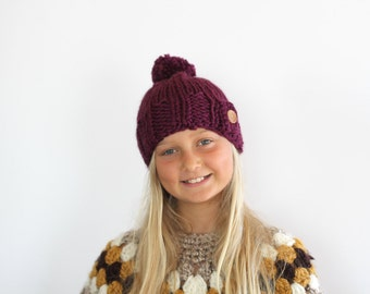 Hand Knit Beanie for Toddlers with Wooden Button and Pom Pom in Berry Wool Yarn