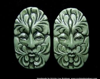 a Green Greenman Face Cab leaf spirit handmade Cabochon polymer clay 47x28mm