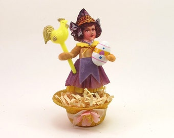 "READY TO SHIP Vintage Inspired Spun Cotton ""Malena"" Hat Basket Spring and Easter Figure Ooak"