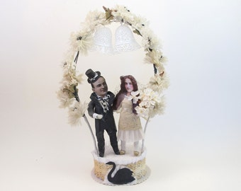 Vintage Style Spun Cotton Flower Arch Bride and Groom Wedding Cake Topper OOAK