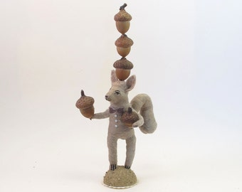 Spun Cotton Vintage Style Woodland Circus Nut Balancing Squirrel Figure