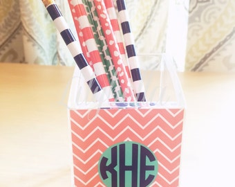 Personalized Acrylic Pen/Pencil Cup -  Pen Cup - Pencil Cup - Pen/Pencil Storage - Monogrammed Desk Accessories - Office Accessories