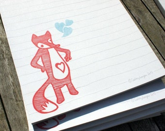 heart fox - notepad A5 - 100% recycled paper