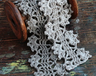 Hand Crocheted Linen Edging, Lace Trim -- grey, natural