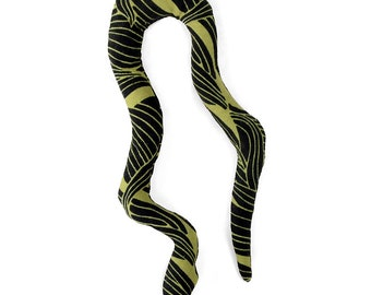 catnip snake, cat toy, organic catnip, kitty toy, catnip toy, cat snake toy, green black abstract upholstery fabric