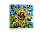"""Sunflower. (Handmade Stained Glass And Mixed Media Mosaic 10"""" x 10"""" Wall Art by Shawn DuBois)"""