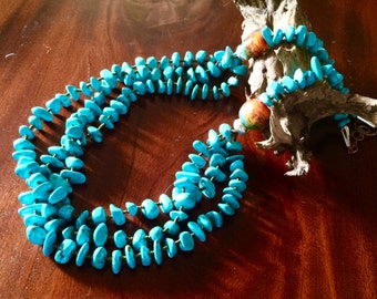 Tribal Turquoise Necklace Triple Strand sterling copper