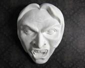 Vlad - Unpainted - cement cast - Wall Decor - Sculpture - Vampire - Monster - Face - horror - wall hanging - hydrocal - gypsum - cement