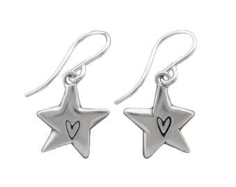 Little Star Earrings - Sterling Silver Star With Heart Dangle Earrings