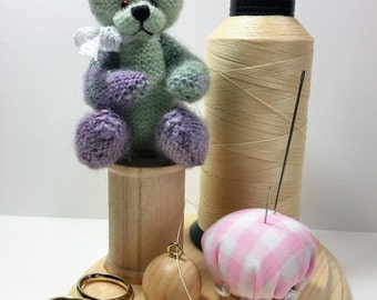 Moss Green & Lavender Teddy Bear/Jointed Bear/Miniature Teddy Bear/Artist Teddy Bear/Hand Knitted Teddy Bear