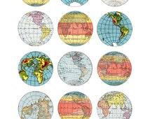 vintage map circles, 2 inch size, digital download  no. 14