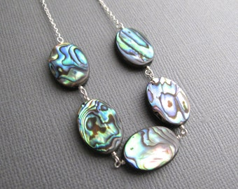 Malia. Paua Necklace, Abalone Shell on Sterling Silver Chain