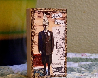 Collaged Wood Block - Mixed Media - Collage - Decoration - OOAK