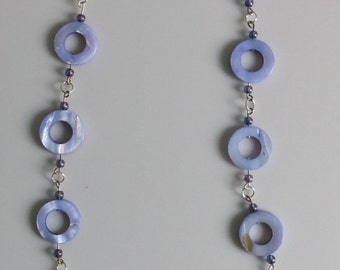 Long Periwinkle Glass Bead Necklace