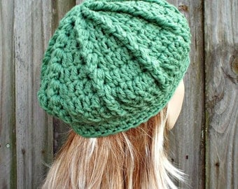 Jade Green Beret Green Womens Hat - Spring Monarch Beret Green Crochet Hat - Green Hat Green Wool Winter Hat Green Beanie