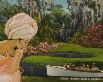 Altered Art Collage, One of a Kind Art, Original Collage, OOAK Upcycled Art, Paper Collage Artwork Gift, Cypress Gardens Florida Postcard