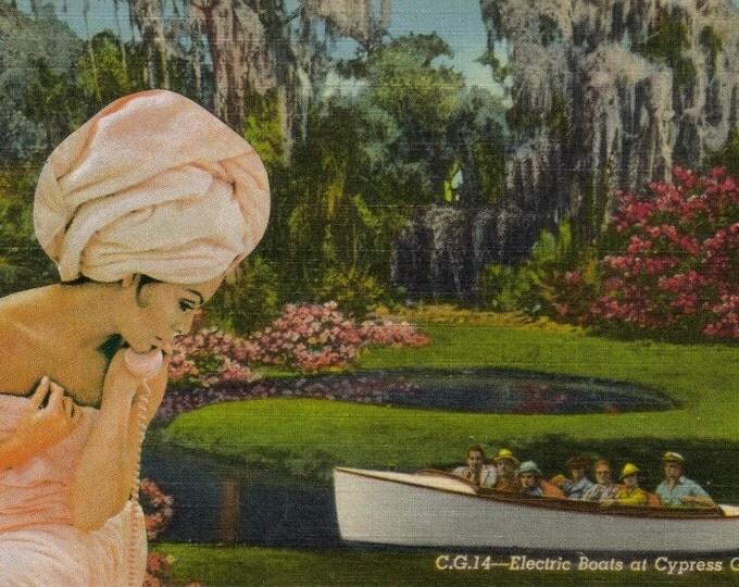 Odd Altered Art Collage, Cypress Gardens Postcard