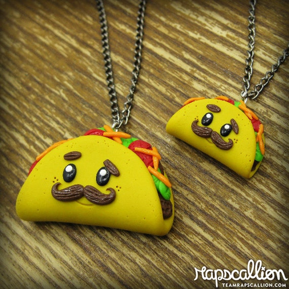 Taco Necklace - Moustache polymer clay