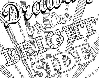 Adult Coloring Sheets - 12 Print Your Own Positive Quotes PDF