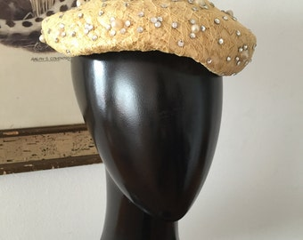 Lace and Rhinestone Straw Little Hat