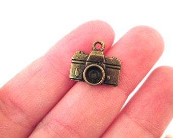 12 Brass Camera Charms 15x14mm, D91