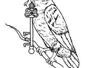 Downloadable coloring page Raven's Key fantasy art