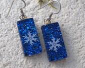 Snowflake Earrings, Dangle Drop Earrings, Cobalt Blue Earrings, Dichroic Glass Jewelry, Fused Glass Jewelry, Sterling Silver, 091816e103