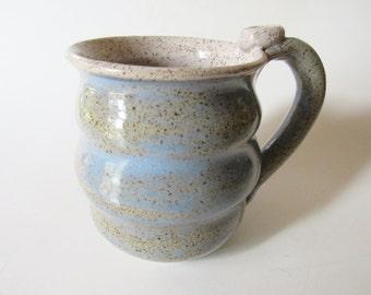 Wavy Mug - Ice Blue Speckled Mug - 14 oz  Coffee Cup - Ready to Ship Ceramic Cup