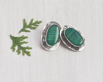 Vintage Sterling Silver Oval Earrings - green glass faux malachite clip ons - Taxco Mexico
