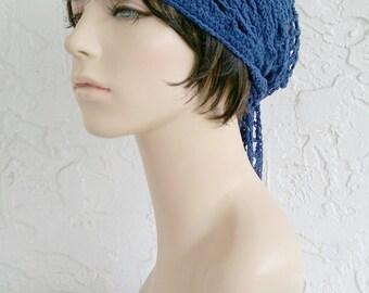 hand crochet bandana dorag women bandana men bandana dreadlock snood men women accessories ~ gypsy spirit mesh ~  navy  unisex cobasi