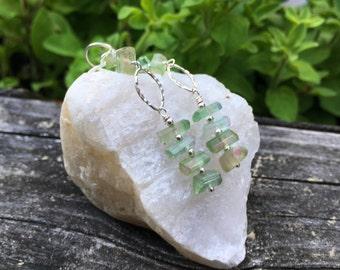 Watermelon Tourmaline Crystal Sterling Silver Earrings, Long Dangle, Genuine Gemstone, Green Tourmaline, Wire Wrap, Handmade Jewelry