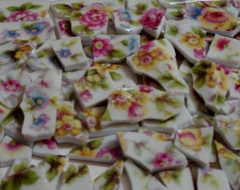 Mosaic Tiles - Supplies - Vintage - Chintz Roses, Flowers Mosaic Pieces - Broken - China Plate -Tessera