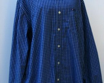 Vintage Men soft Flannel Shirt, Comfy man woman shirt, small blue plaid grunge hipster, 90s XL navy checkered xlarge button down shirt