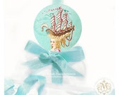 """Marie Antoinette, sticker, coiffure, sailing ship, hair style, sea, aqua blue, gift wrap, party decor, seal, large, glossy sticker, 2.25"""""""
