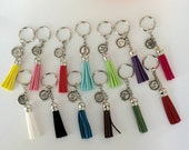 Tassel keychain, Suede Leather keyring, Graduation Tassel Keychain, Initial key ring, Purse Tassel