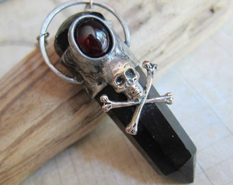 Jolly Roger - Skull and Crossbones Pirate Pendant with Black Obsidian and Red Garnet