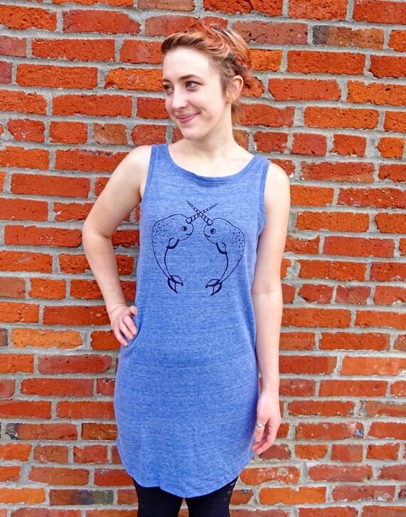 Women Tank Dress, Women Organic Dress, Nautical Dress, Organic Women Tank Top, Summer Tank Dress, Screen Print Festival Tank Dress, Narwhal