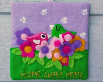 RESERVED Happy Home Sweet Home wall hanging wall art birdie birds flowers