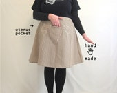 Uterus Skirt -- concealed carry -- white, brown, triangle, textured, vintage knit poly fabric -- plus size, size 20 -- 41W-58H