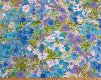 "turquoise, purple, green - vintage floral fabric -- painterly flowers -- 1960's breathable rayon blend -- 45"" x 1.3 yards"