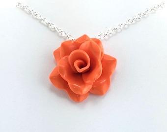 Orange Rose Pendant - Simple Rose Necklace - Orange Rose Necklace  - Bridesmaid, Wedding Jewelry - Polymer Clay - MADE to ORDER