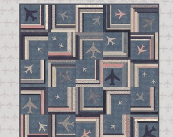 Tailwind - Quilt Pattern - A  stunning quilt featuring Janet Clare's Flight fabrics, fusible aeroplanes and log cabin blocks