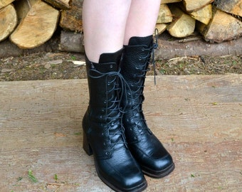 1990s, vintage lace up boots, size Us 6.5, lace up boots, black leather boots, vintage boots, women's boots, vintage leather boots