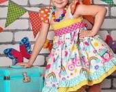 Little Girls Rainbow Dress- Little Girls Birthday Dress- Girls Rainbow Birthday Party Dress- Girls Unicorn Dress- Unicorn Birthday Dress