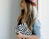 Black & White Marks, Geometric, Lines, Screen Printed Canvas Clutch, Leather Wristlet