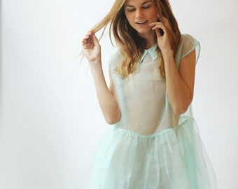 Sheer Layered Organza Dress--Mint--Sample Sale