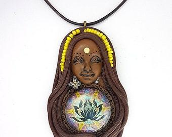 Lotus Necklace - Lotus Flower Goddess - Yoga Jewelry - Goddess Necklace - Lotus Pendant - Yoga Necklace - Mandala Necklace - Buddhist